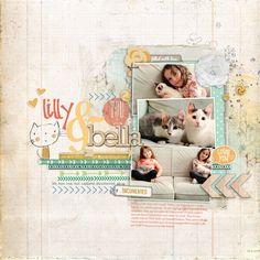 #kitten love in a #scrapbook page from Melissa at DesignerDigitals.com