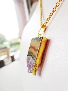Amethyst slice necklace.  Druzy crystal by LittleBearsMom on Etsy, $42.00