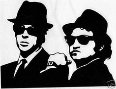 The image for my Blues Brothers tattoo. Stencil Art, Stencils, Blues Brothers 1980, Need Somebody To Love, Pochette Album, Country Blue, Silhouette Art, Pyrography, Vinyl Decals