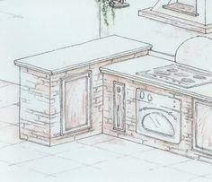 Foto cucina in muratura con piano in marmo di modaffari for Planimetrie rustiche