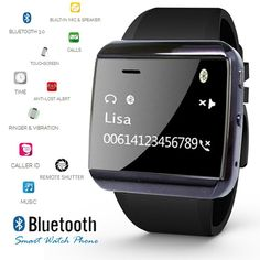 Indigi Smartwatch for All Smartphones - Black -- More info could be found at the image url. (This is an affiliate link) #SmartWatches