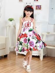EricDress - EricDress Ericdress Strappy Floral Print Girls Dress - AdoreWe.com
