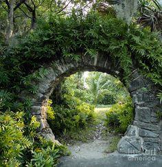 View of a Moon Gate in Palm Grove Garden, Devonshire Parish, Bermuda. A moon gate is a circular open