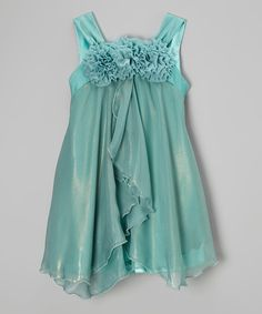 Look at this Kid's Dream Teal Rosette Babydoll Dress - Toddler & Girls on #zulily today!