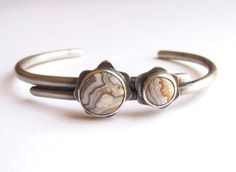 Bracelet - Cuff - Open Bangle - Sterling Silver - Crazy Lace Agate - Lapidary - Silversmith - RMD Designs www.rmddesigns.com