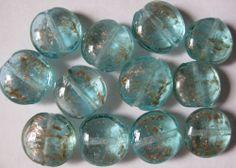 Turquoise Blue Gold Sand Lampwork Glass Loose Beads 12 Pcs 20mm x 10mm Lentil