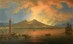 Pietro Antoniani, The Bay of Naples with the eruption of Vesuvius seen from the Riviera di Chiaia, ca. 1774 (photo in public domain)