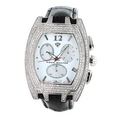 Diamond Aqua Master Watches! This Mens Diamond Watch features an oversized case in solid stainless steel set with 3.5 carats of genuine diamonds, a fine swiss-made quartz movement, a date at 4:00 position a white dial with three oval mother of pearl sub dials, and a black leather band.