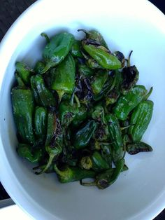 the most classic Spanish tapas – fried padron peppers. — in Barcelona, Catalonia.