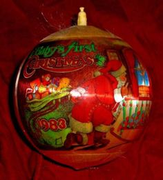 1983 baby 039 s first christmas satin ball ornament keepsake rare santa mrs claus