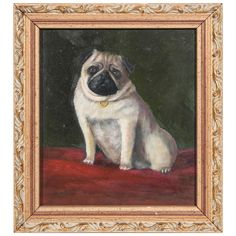 Oil Painting of a Pug Painting   See more antique and modern Paintings at http://www.1stdibs.com/furniture/wall-decorations/paintings