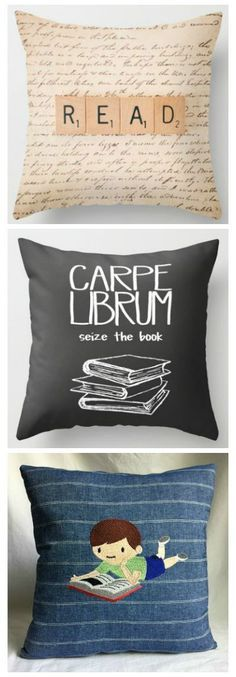 I'm on a mission to find the perfect bookish throw pillow! These three are great, but I'm not sure if any of them is The One to complete my almost-perfect reading nook.
