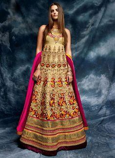 buy latest designer party wear salwar suit online. Order this girlish beige designer floor length salwar suit for bridal and wedding.