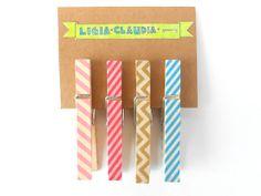 Stripes Washi Tape Clothespins Set of Four