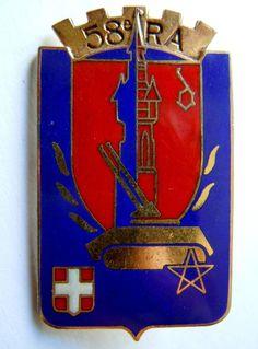 Insigne 58° RA Régiment d'Artillerie Original Arthus Bertrand Paris émail