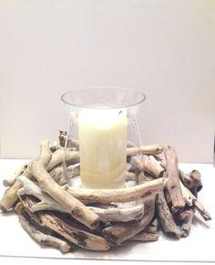 Driftwood candle holder  Centerpiece  Beach Wedding  by Ammoudia, $95.00