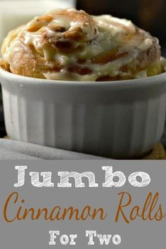 These homemade Jumbo Cinnamon Rolls are incredibly soft and fluffy with a delicious sugar cinnamon filling and sweet cream cheese frosting. As I'm writing this post on Valentine's Day I find myself in love with these cinnamon rolls! This small batch recip Single Serve Desserts, Single Serving Recipes, Small Desserts, Just Desserts, Dessert Recipes, Cherry Desserts, Pudding Desserts, Italian Desserts, Breakfast Recipes