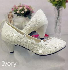 Lace white ivory crystal Wedding shoes Bridal flats low high heel pump size 5/12 #FlatheelsWedges