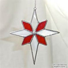 RED STAR in Stained Glass, Christmas Tree Ornament, Gift | Glass christmas tree ornaments and ...