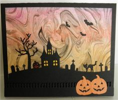 Shaving cream background Halloween card   VERY cool - best Halloween card I have seen  !