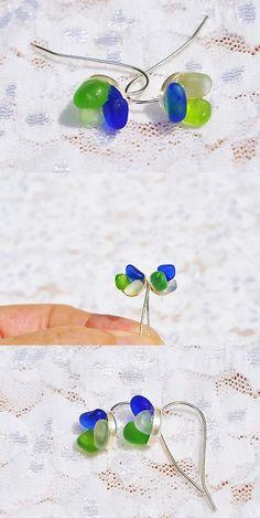 Beach Glass - Surf-Tumbled 41221: Sea Glass Jewelry Beach Wire Earrings Sterling Flowers Cobalt Green White 7250C -> BUY IT NOW ONLY: $35.99 on eBay!