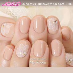 instagram → yukachiso ベージュピンクのたらしこみフラワーネイル♪...|ネイルデザインを探すならネイル数No.1のネイルブック