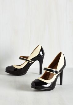 Classy Indeed Heel in Black. Should you declare these black and ivory heels the most dapper pair you ever did see, youll have a street style following wholl agree! #black #modcloth