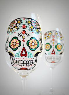 Items similar to Sugar Skull - Hand Painted Wine Glasses - Día de Muertos - Day of the Dead Glasses on Etsy Diy Wine Glasses, Hand Painted Wine Glasses, Wine Glass Crafts, Bottle Crafts, Verre A Vin Design, Personalized Wine Glasses, Skull Hand, Just In Case, Sugar Skulls