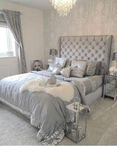 20 Elegant Design Silver Bedroom Ideas That Are The Current Trend - homesuka Grey Bedroom Design, Grey Bedroom Decor, Glam Bedroom, Room Ideas Bedroom, Silver And Grey Bedroom, Small Grey Bedroom, Home And Deco, Luxurious Bedrooms, Glamorous Bedrooms