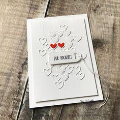 """Bettina Reisinger on Instagram: """"Und hier gleich noch eine Herzkarte - diesmal zur Hochzeit... Ganz in weiß mit einem kleinen Farbtupfer- oder besser zweien 😉Die roten…"""" Instagram, Heart Map, Cards, Wedding"""