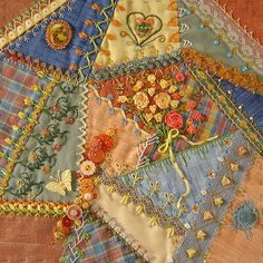crazy quilting/ beautiful peaches and blues Crazy Quilting, Crazy Quilt Stitches, Quilting Blogs, Crazy Quilt Blocks, Crazy Patchwork, Patch Quilt, Quilting Designs, Patchwork Cards, Ribbon Embroidery