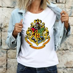 Hogwarts Crest T shirt | Women's Relaxed Fit Tee with Harry Potter | Harry Potter gift idea | Custom Harry Potter fan shirt | Custom Made Gift, Custom Gifts, Customized Gifts, Special Gifts For Her, Presents For Her, Gifts For Girls, Gifts For Mom, Hogwarts Crest, Harry Potter Gifts