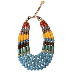 Masha Archer Mexico Festival necklace ❤ liked on Polyvore featuring jewelry, necklaces, beaded statement necklace, bib statement necklace, dangle necklace, statement collar necklace and fake jewelry