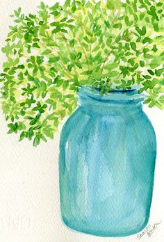 Herbs in Aqua canning jar watercolor painting by SharonFosterArt, $20.00