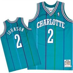 Mitchell & Ness Charlotte Hornets Larry Johnson 1991-92 Hardwood Classics Authentic Jersey