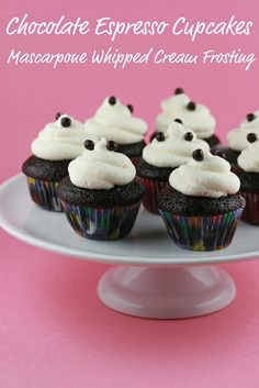 Chocolate Espresso Cupcakes with Mascarpone Whipped Cream Frosting by Food Librarian, via Flickr