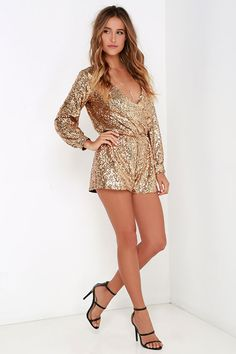 Good as Gild Gold Sequin Romper at Lulus.com!