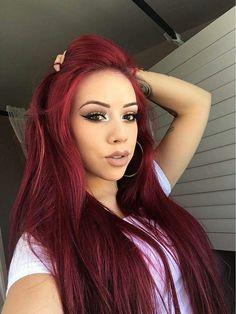 148 yummy burgundy hair color ideas burgundy hair dye tips & tricks page 24 Dark Red Hair, Long Red Hair, Red Hair Color, Burgundy Red Hair, Cherry Red Hair, Hair Colors, 100 Human Hair, Human Hair Wigs, Pretty Hairstyles