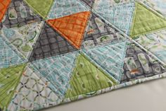 Baby+Boy+Quilt+Triangle+Quilt+Backyard+Baby+by+CottonLaneQuilts,+$98.00