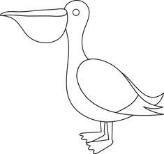 Colorable Pelican - Free Clip Art
