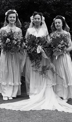 Bridal bouquets were humongous in times past and must have been pretty heavy.