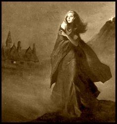 Heroine fleeing the manse. Vintage Gothic, Gothic Art, Gothic Angel, Gothic Horror, Horror Art, Dark Fantasy, Fantasy Art, Gothic Books, Gothic Images