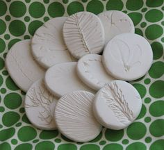 Nature Impressions in Sculpey so you only need a toaster oven to fire them!