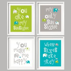 You are My Sunshine Kids Art Elephants in Lime Green, Teal and Gray 8x10 - baby shower gift, for boy or girl Many Colors on Etsy, $59.95