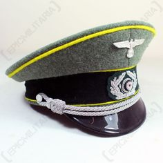 f8a07ae498f Custom German Army Officer Peaked Cap with Lemon Yellow Piping Signals  Officer Visor Hat. Epic Militaria