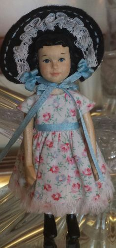 I finally got a dress, pantaloons, and bonnet made for Bitty Hitty. Big And Beautiful, Beautiful Dolls, Peg Wooden Doll, Hobbies And Interests, Smocking, American Girl, Doll Clothes, Harajuku, Projects To Try