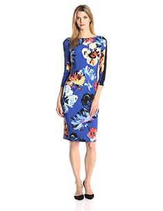 Maggy London Womens Artistic Bloom Jersey Sheath BlueSunset 12 ** Click image to review more details. (This is an affiliate link) #FashionDresses