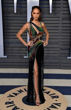Joan Smalls -Unique dress, don't like the hair and makeup particularly the lip color