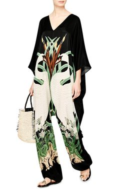 Runway Collection: Printed Silk-Satin Harem Jumpsuit by Adriana Degreas - Moda Operandi