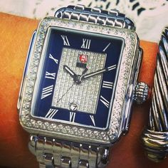 The Deco Diamond, Blue Pavé Dial. MICHELE's iconic Art Deco-inspired timepiece is made even more glamorous with a blue mother-of-pearl and diamond covered pavé dial. Better start your holiday wish list a little early. #michele #michelewatches